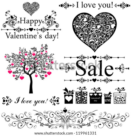 Happy valentine day decor. Collection of design elements vintage set isolated on White background. Vector illustration
