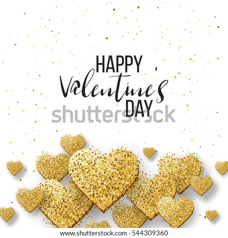 Happy valentine day festive sparkle layout template design. Glitter gold hearts on white background with frame, border. Lettering Valentine's day card vector Illustration. Be my valentine.