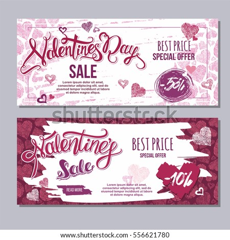 happy valentine day flyer template with hand drawn lettering. 14 February  banner set with decorative hearts