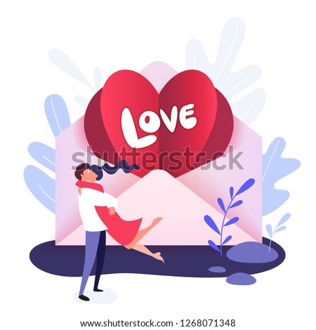 Happy Valentine Day greeting card with Valentine in the envelope and the words Love, flat vector illustration isolated on white background. Valentine day greeting card with hugging funny couple