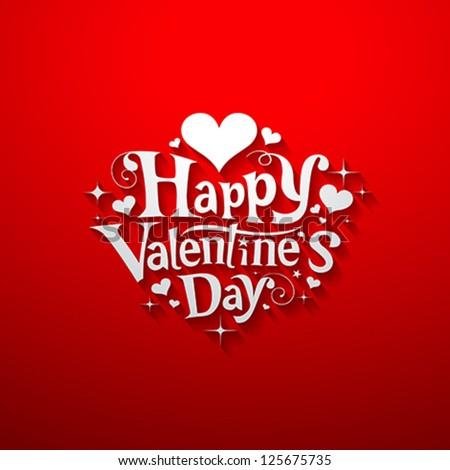 Happy Valentines Day Script Text On Red Background With Hearts