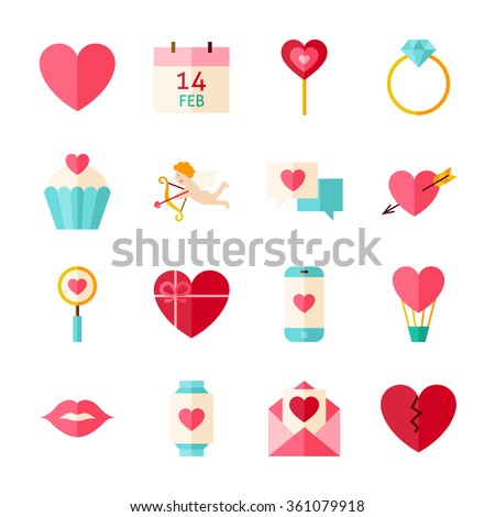 happy valentine day objects set