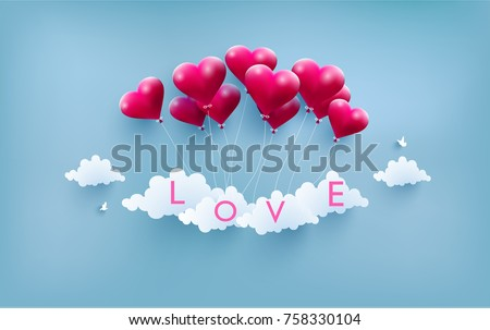 happy Valentine. illustrated love balloons with beautiful shapes. the beauty of a love balloon above the clouds
