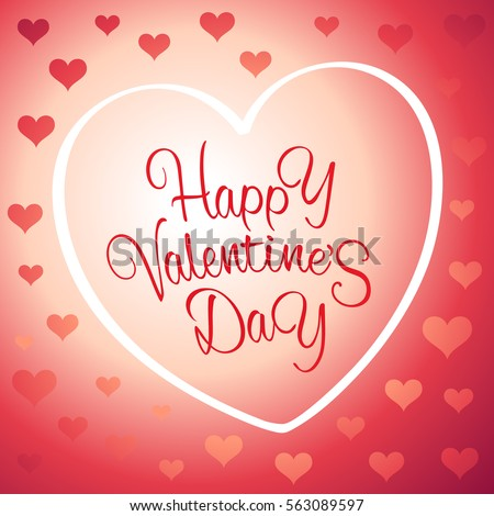 Happy Valentine's Day background with a greeting sign and outline of heart and a lot of small hearts #563089597