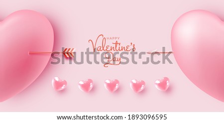 Happy Valentine's day background with cute and lovely 3d art style vector illustration