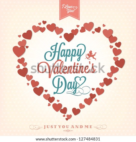 Happy Valentine's Day Background With Hearts