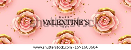 Happy Valentine's Day. Background with realistic 3d flower metal rose, pink and gold color, Glitter golden confetti. Pattern of flower buds. Horizontal banner, poster, header for website. Vector