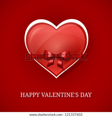 Happy Valentine's day background with red heart  and bow