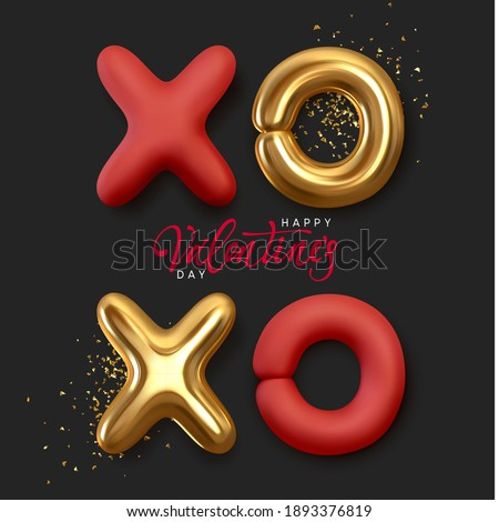 Happy valentine's day. Background with Xo Xo, symbolic notation for hugs and kisses. Realistic 3d metal symbols. Stylish banner, holiday poster template for social media, flyer and brochure cover. Photo stock ©