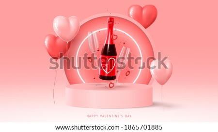 Happy Valentine's Day banner. Holiday background with red and pink ballon, neon circle, round stage, realistic champagne bottle, glasses and confetti. Vector illustration with 3d rednder object.