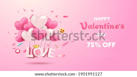Happy Valentine's Day banner or background with 3D realistic pink heart balloon, emoji, confetti party. Romantic greeting card design with lovely elements. Promotion, special discount