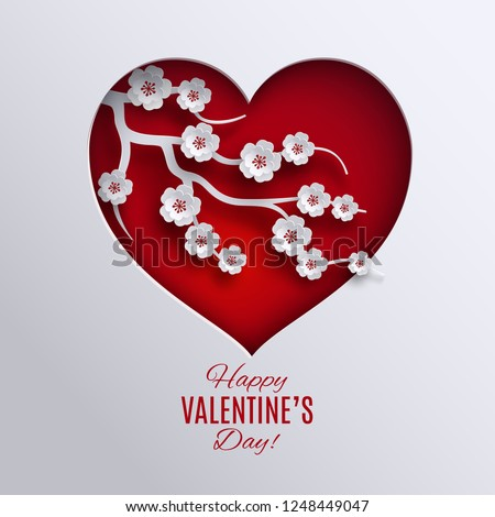 Happy valentine's day banner. Paper cut red heart, cherry flowers, white background. Holiday design for happy valentine day greeting card, poster, banner, paper cutout art style. Vector illustration