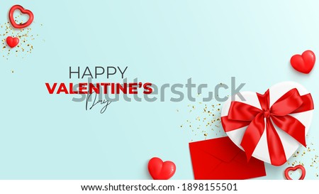 Happy Valentine's Day banner. Top view on realistic gift box with satin bow, closed envelope, red hearts and gold confetti. Vector illustration with  decorative objects for Valentine's Day.