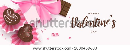 Happy valentine's day banner with cute heart desserts, chocolate bar, gift box background template vector illustration