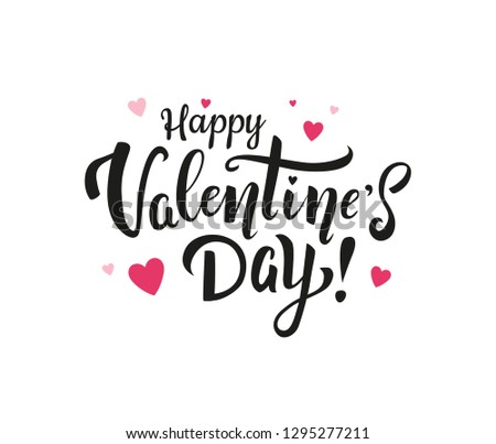 Happy Valentine's day! Beautiful hand drawn black lettering with pink hearts for greeting cards and print. - Vector #1295277211