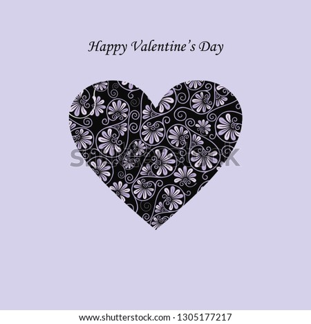 Happy Valentine's day card background with heart. Vector illustration for greeting postcard, romantic wedding invitation. Heart shape vector. Love illustration. Web icon, symbol, sign.  #1305177217