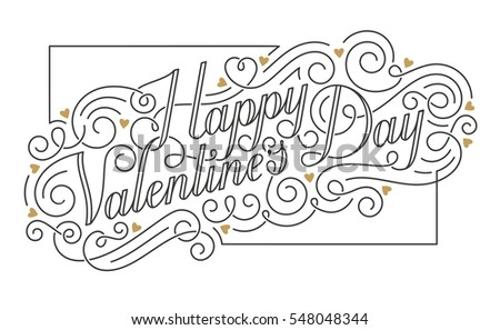 Happy Valentine s Day card. Hand drawn calligraphic inscription with swirls and golden hearts. EPS10 vector illustration