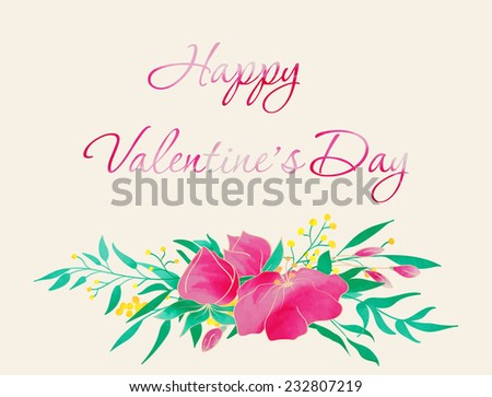 Happy Valentine\'s Day card. Hand drawn vintage floral elements. Watercolor flower composition. Vector illustration.