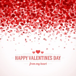 Happy Valentine's day card hearts light vector background
