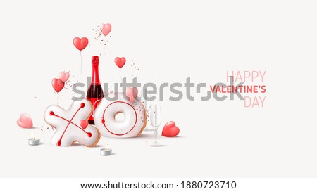 Happy Valentine's Day card. Holiday background with champagne bottle, glasses, balloons, tea candles, realistic XO cookies, confetti. Vector illustration with 3d render object for Valentine's Day.