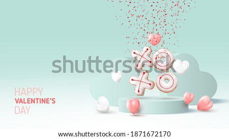 Happy Valentine's Day card. Holiday background with white and pink hearts, round stage, realistic XO cookies and confetti. Vector illustration with 3d render object.