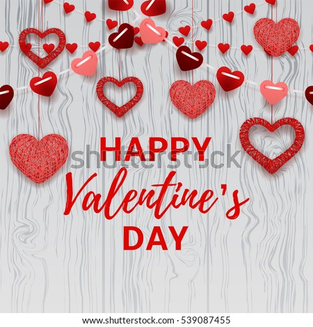 Happy Valentine's Day card. Romantic composition with garlands from paper. Beautiful backdrop with heart from threads on wooden texture. Vector illustration.
