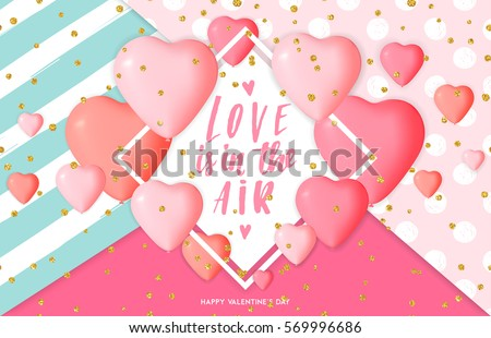 happy valentine s day banner design with pink heart shapes