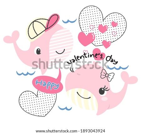 Happy valentine's day card with cute cartoon whale boy and whale girl in love isolated on white background illustration vector.