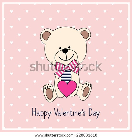 Happy Valentine S Day Card With Cute Teddy Bear With Heart On Pink