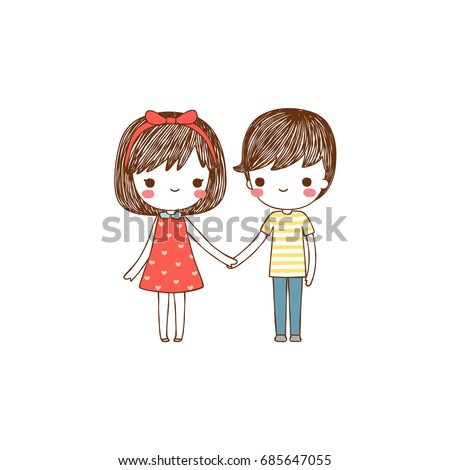 Happy valentine's day card with lovely couple young cute girl and boy holding hands and smiling to each other. Valentine's day card. Isolated on white background. Flat design. Vector illustration.