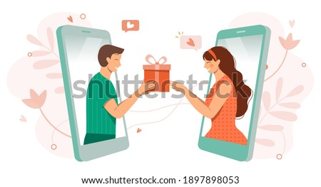 Happy Valentine's Day concept.Love.Be my Valentine.Online dating during coronavirus, long social distance couple, virtual relationships vector illustration.Cute man and women in love via smartphone
