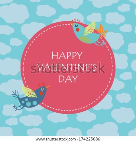 Happy Valentine's Day congratulation card. Vector love birds.