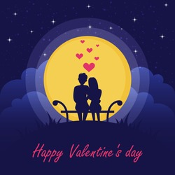 Happy Valentine's Day. Couple in love under the moon.
