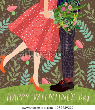 Happy Valentine's day! cute card or poster with a vector illustration of a dancing couple on a date with a bouquet of flowers, congratulations on the holiday