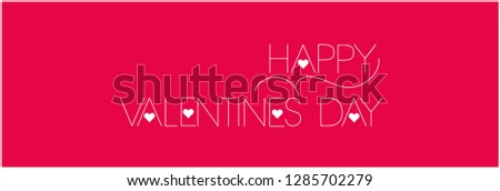 Happy Valentine`s Day - elegant drawn lettering on red background. Flat vector illustration for invitations, greetings, cards, prints, posters, flyers, banners, seasonal design and decoration, web.
