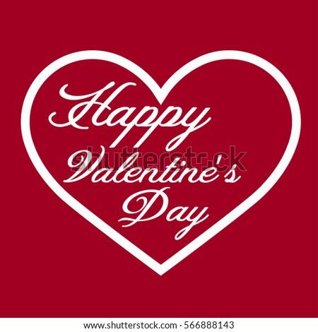 Happy Valentine S Day Flat Line Heart Icon Ez Canvas