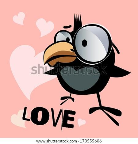Happy Valentine\'s Day funny little bird love
