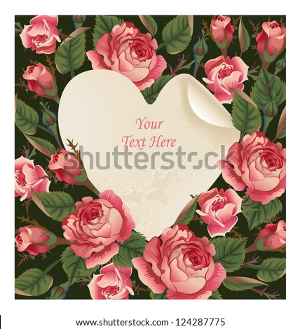 Happy Valentine's Day greeting card against the backdrop of vintage roses, heart