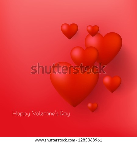 Happy Valentine's Day greeting card design with 3d hearts. Vector illustrtation.