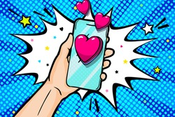 Happy Valentine's day greeting card. Sending heart, love message in pop art style. Hand holding phone with heart on screen. Send or receive love sms, letter, email with mobile phone.