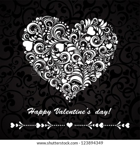 Happy Valentine's day!  Greeting card Valentin`s Day. Vector Illustration