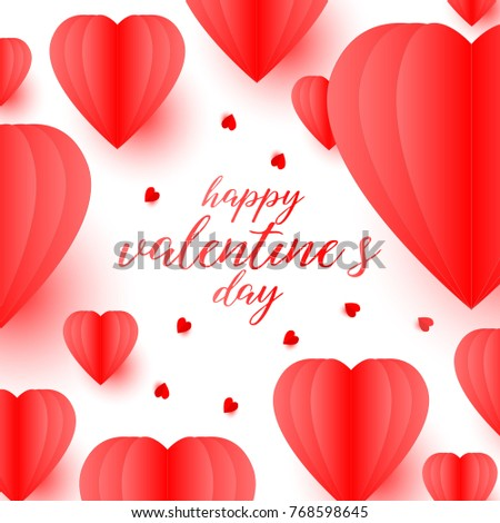 Happy Valentine S Day Greeting Card With Paper Cut Heart Shape On