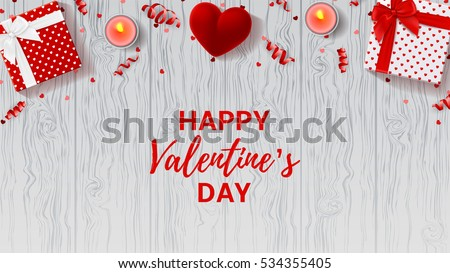 Valentine S Day Banner Design With Red Heart Download Free Vector