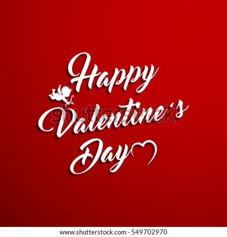 Happy Valentine's Day Hand Drawing Background With Heart and Cupid. Vector illustration. #549702970