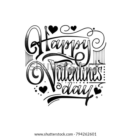 Happy Valentine S Day Hand Drawing Vector Lettering Design Can Be