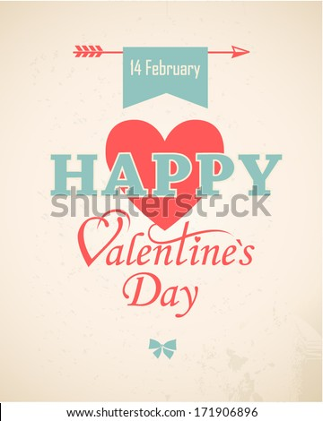 Happy Valentine's Day Hand Lettering. Background. Typographic composition. Greeting card. EPS-10