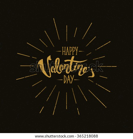 Happy Valentine's Day Hand Lettering Retro Background, vector holiday typography greeting card with burst