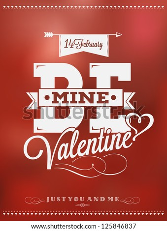 Happy Valentine's Day Hand Lettering Typographical Background