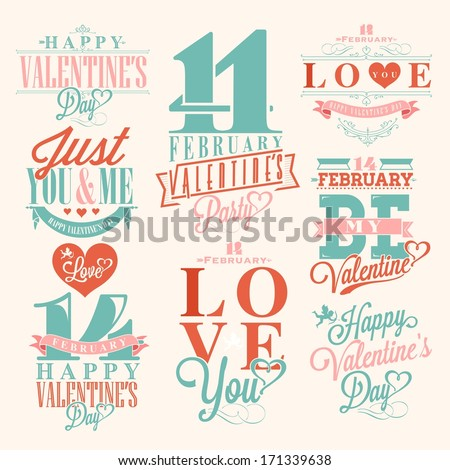Happy Valentine's Day Hand Lettering Typographical Background with ornaments hearts ribbon angel and arrows