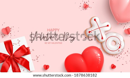 Happy Valentine's Day holiday banner. Holiday background with realistic XO cookies, paper hearts, gift box, balloons and confetti. Vector illustration with 3d decorative object for Valentine's Day.